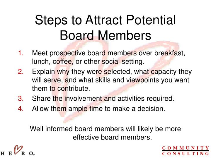 Steps to Attract Potential Board Members