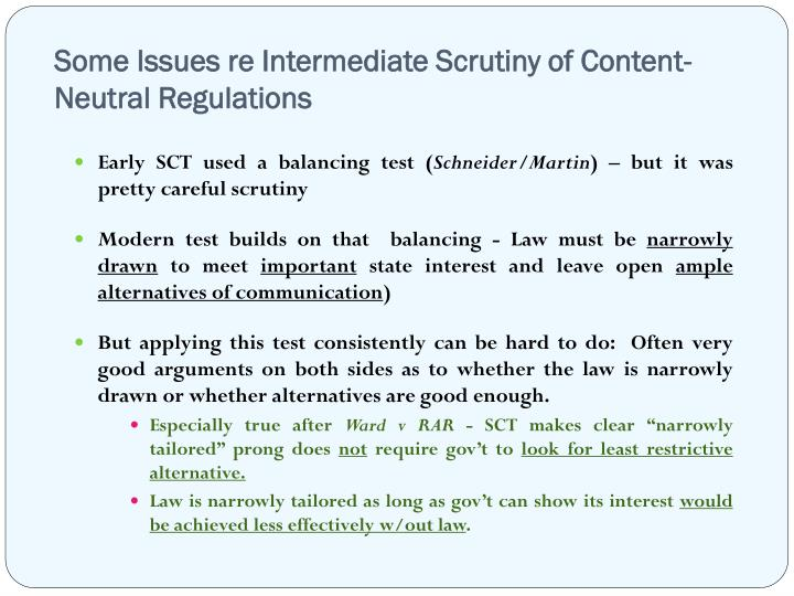 some issues re intermediate scrutiny of content neutral regulations n.