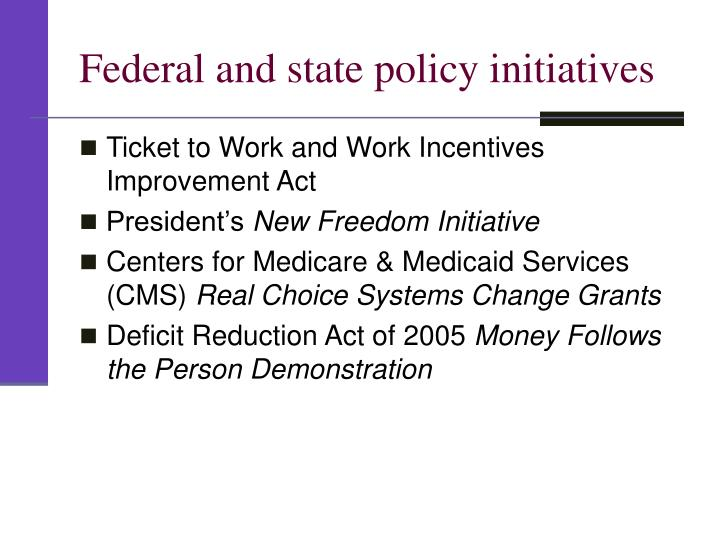 Federal and state policy initiatives