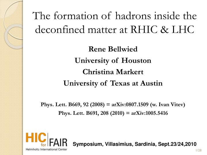 the formation of hadrons inside the deconfined matter at rhic lhc n.