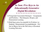 in sum five keys to an educationally generative digital revolution1