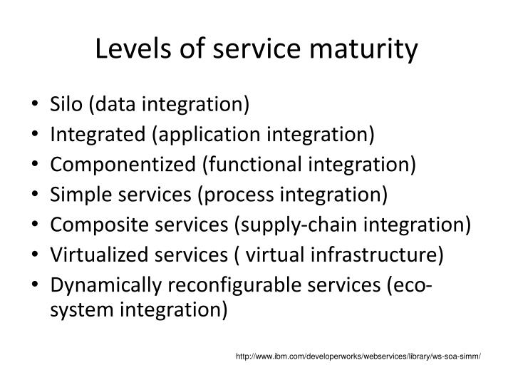 Levels of service maturity