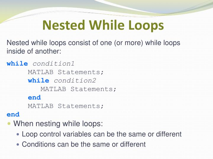 Nested While Loops