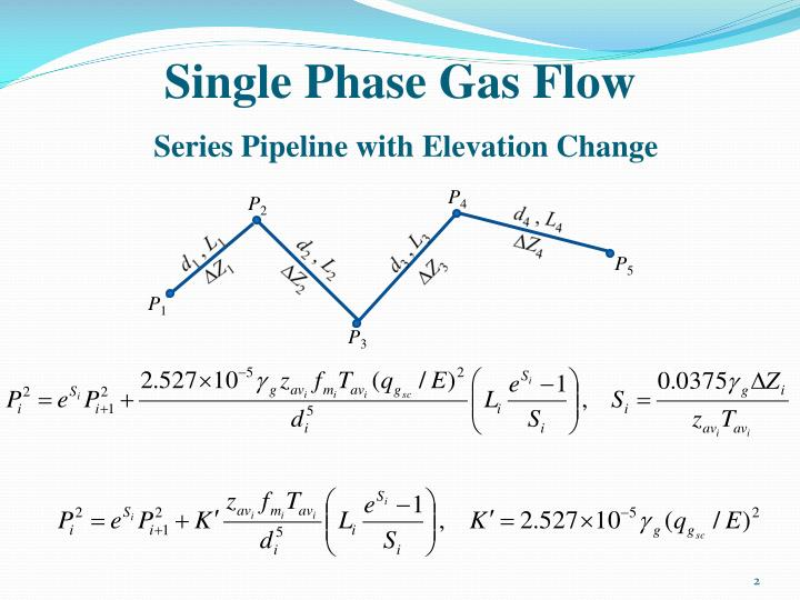 Single phase gas flow series pipeline with elevation change