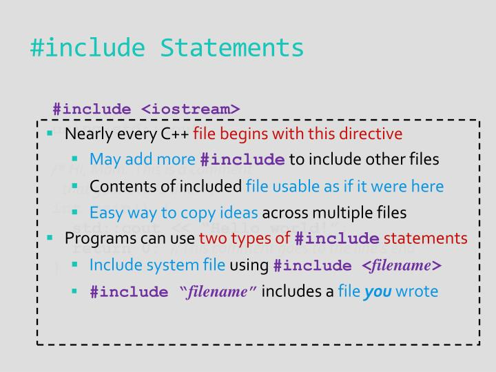 #include Statements