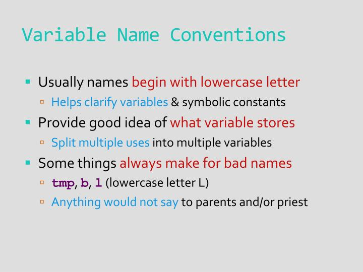 Variable Name Conventions