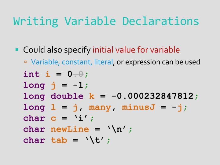 Writing Variable Declarations