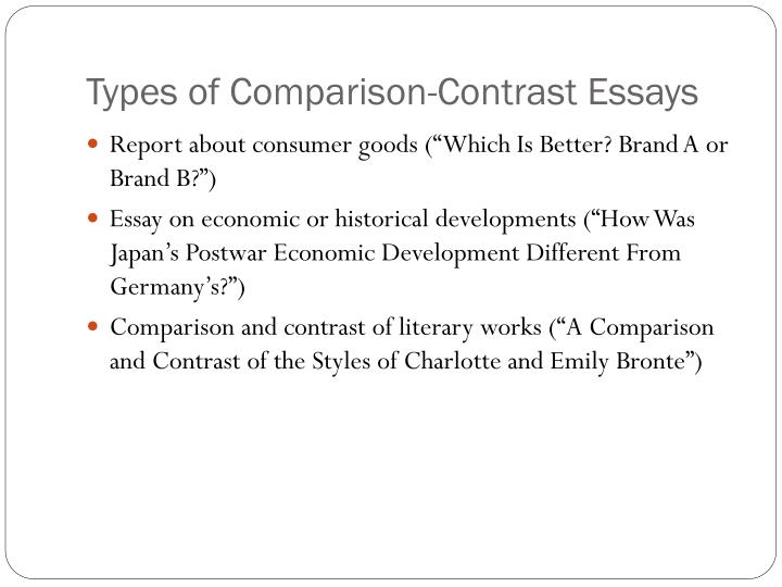 Ppt comparison contrast essay powerpoint presentation Types of contrast