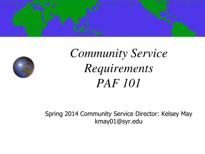 community service requirements paf 101 n.