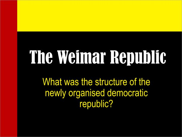 the weimar republic n.