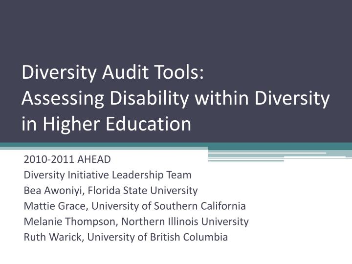 diversity audit tools assessing disability within diversity in higher education n.
