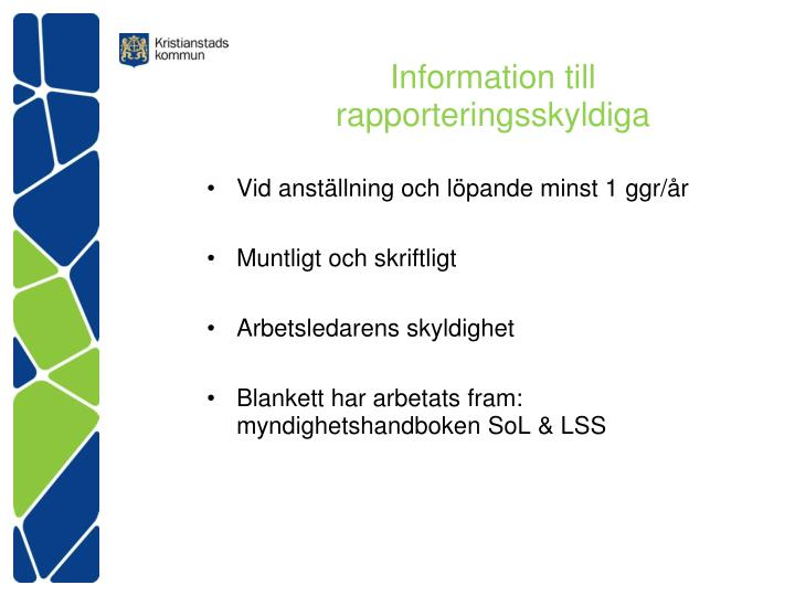 Information till rapporteringsskyldiga