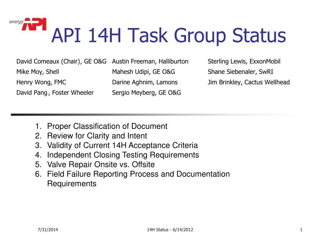 PPT - API 14H Task Group Status PowerPoint Presentation