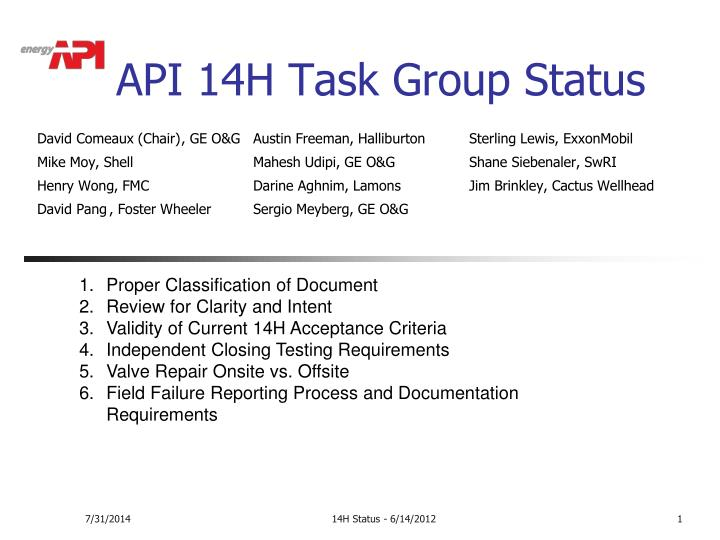 api 14h task group status n.