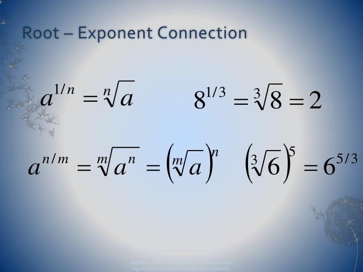 Root – Exponent Connection