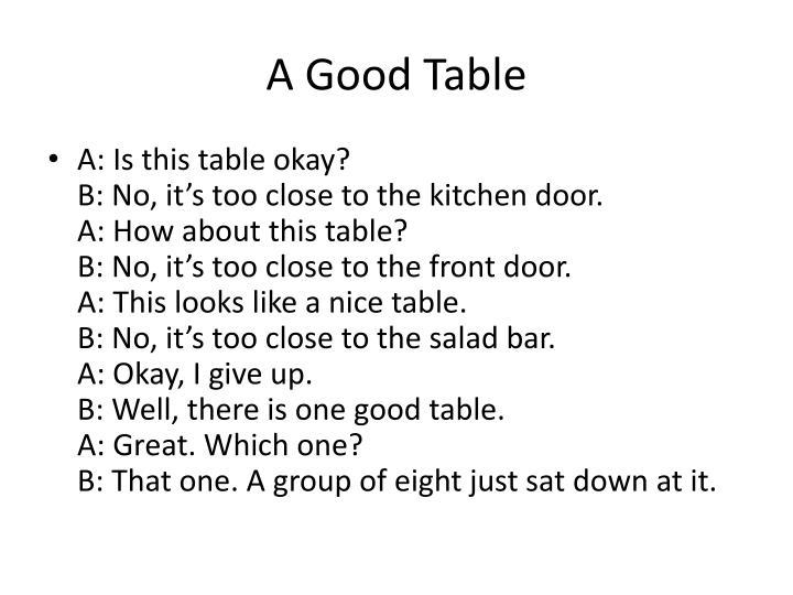 A Good Table