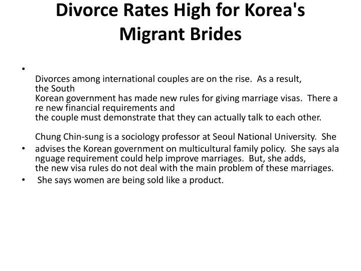 Divorce Rates High for Korea's Migrant Brides
