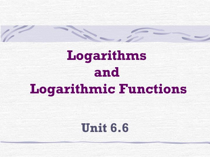 logarithms and logarithmic functions n.