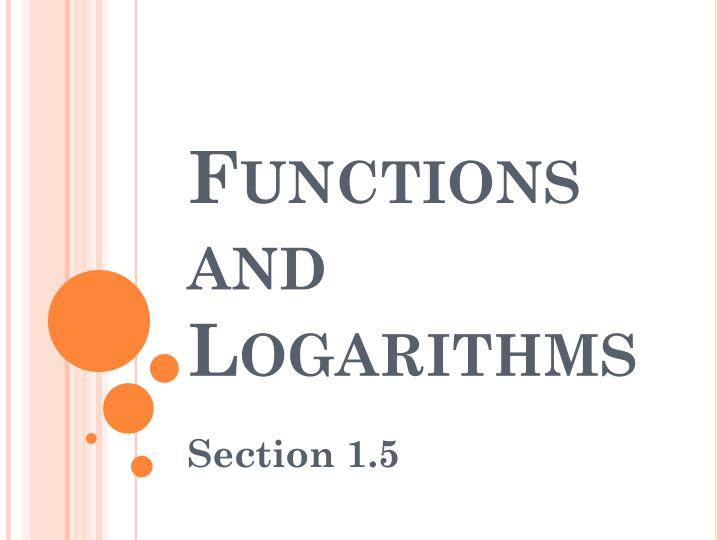 functions and logarithms n.