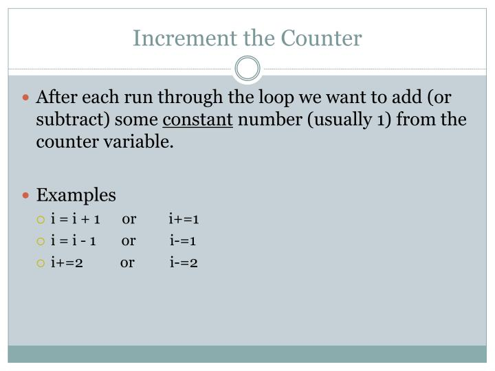 Increment the Counter