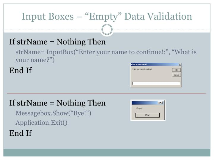 "Input Boxes – ""Empty"" Data Validation"