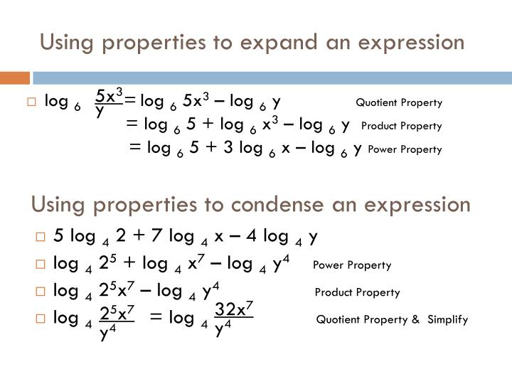 Using properties to expand an expression