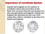 importance of coordinate system