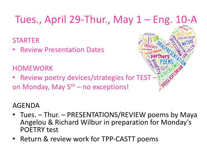Tues., April 29-Thur., May 1 – Eng. 10-A