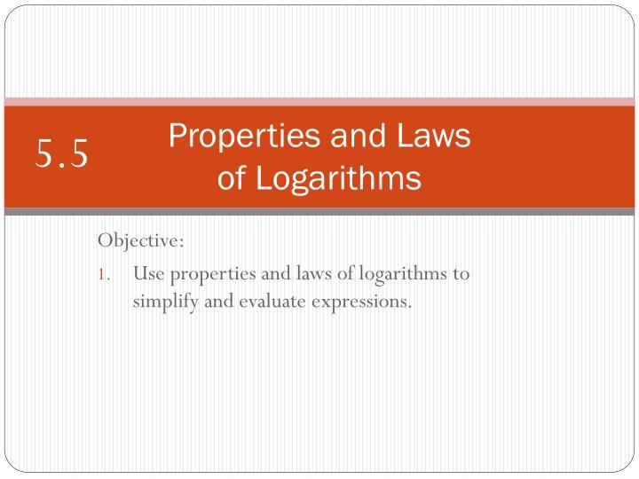properties and laws of logarithms n.