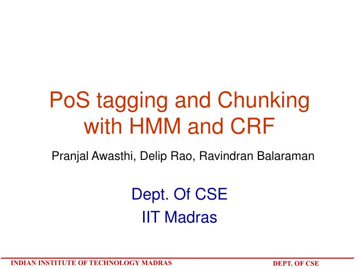 pos tagging and chunking with hmm and crf n.