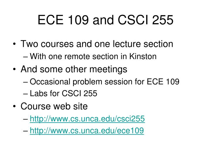ece 109 and csci 255 n.