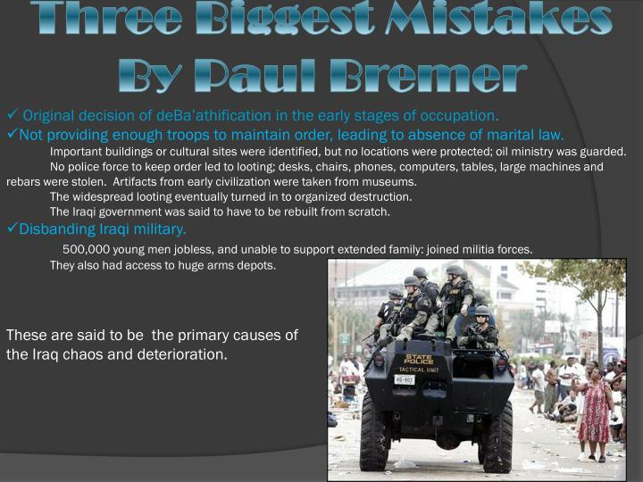 Three Biggest Mistakes By Paul Bremer