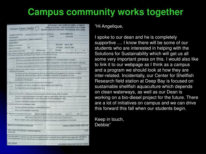 Campus community works together