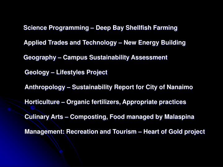 Science Programming – Deep Bay Shellfish Farming