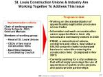 st louis construction unions industry are working together to address this issue