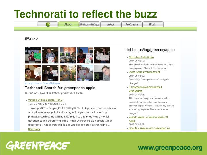 Technorati to reflect the buzz
