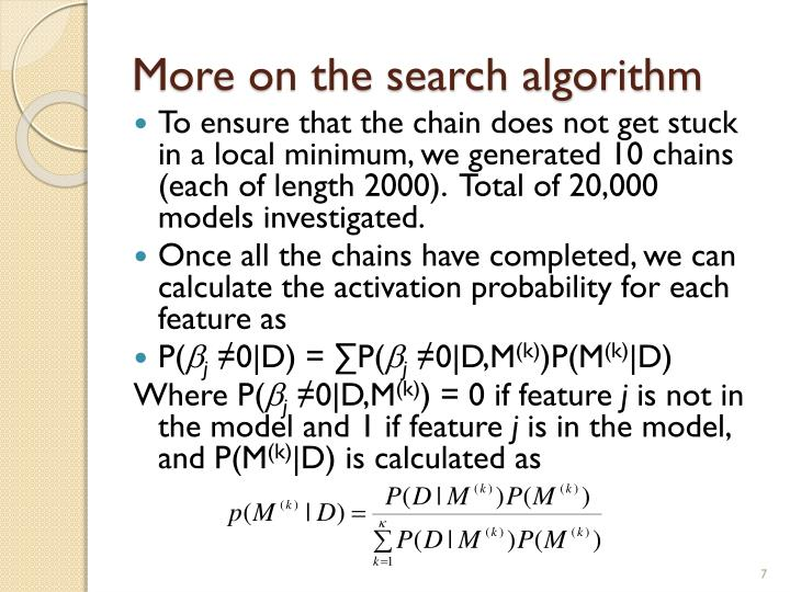 More on the search algorithm