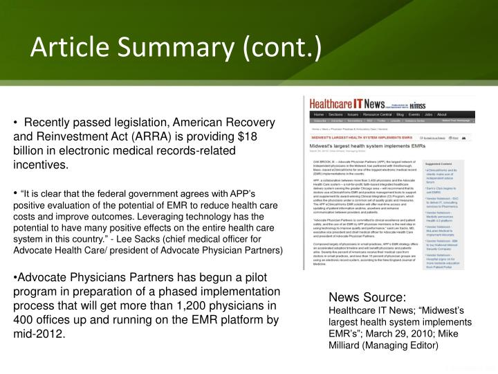 Article summary cont