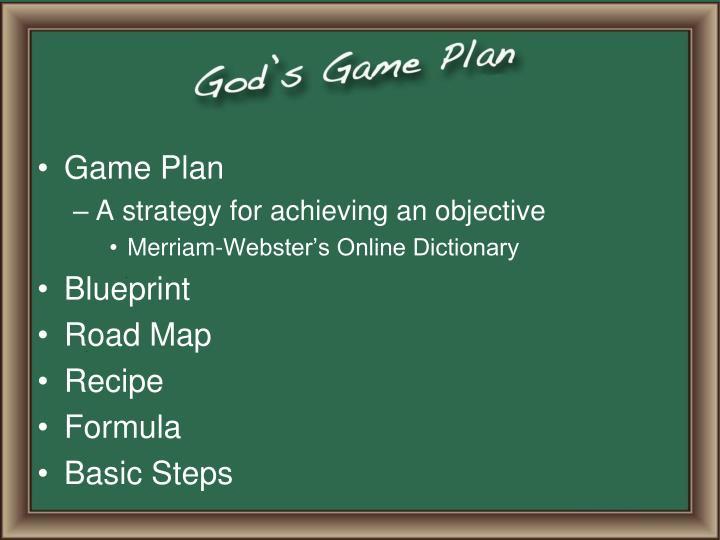 Ppt gods game plan powerpoint presentation id2705028 game plan malvernweather Gallery