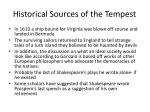 historical sources of the tempest