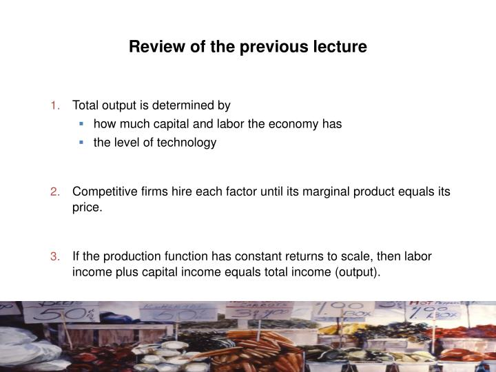 review of the previous lecture n.