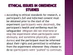 ethical issues in obedience studies