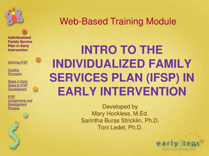 intro to the individualized family services plan ifsp in early intervention n.