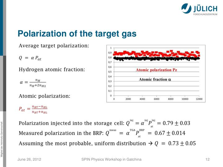 Polarization of the target gas