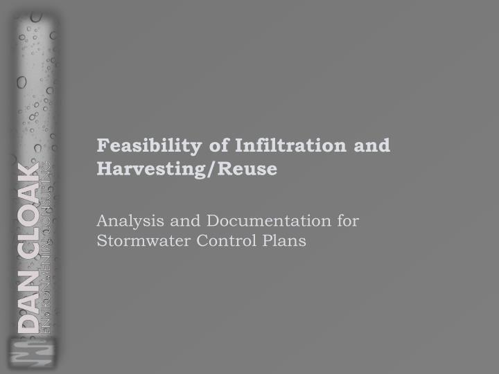 feasibility of infiltration and harvesting reuse n.