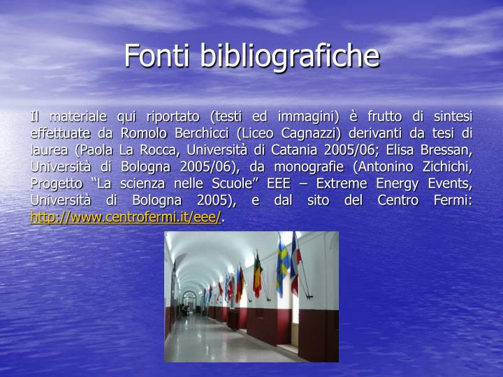 Fonti bibliografiche