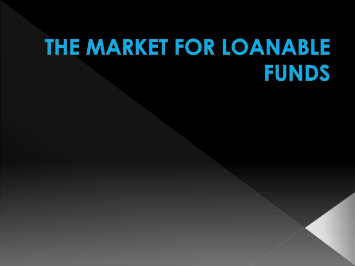 the market for loanable funds n.