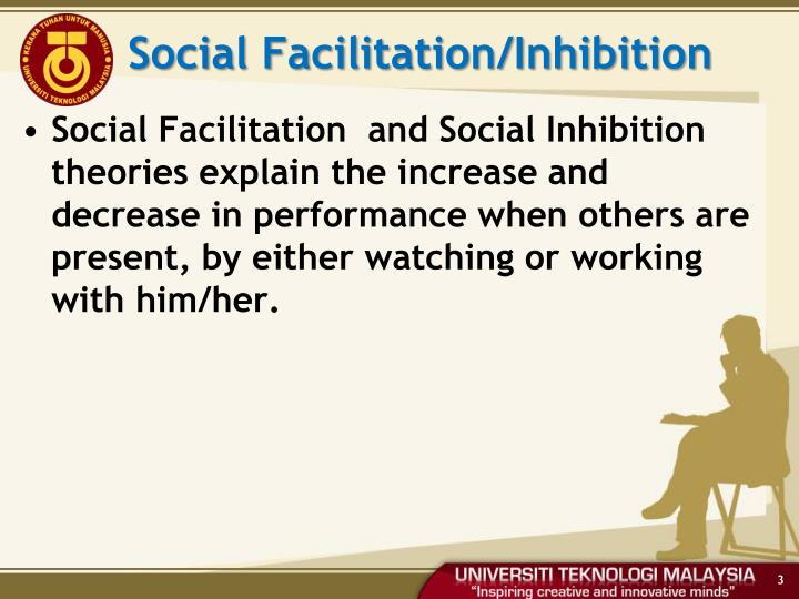 social loafing social inhibition and social facilitation Social facilitation, social inhibition, and social loafing social facilitation, social inhibition, and social loafing as you may recall in the work of triplett (1898), the presence of others in a bicycle race was found to enhance individual performance.