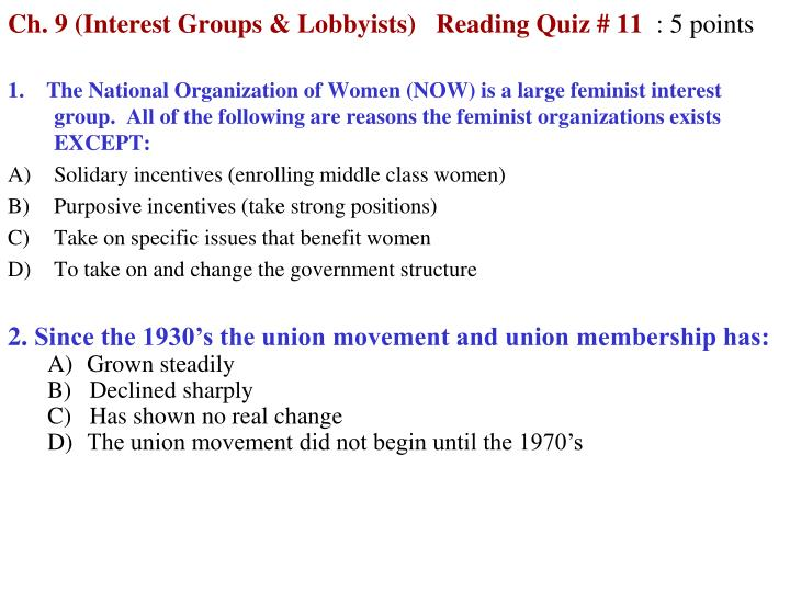 ch 9 interest groups lobbyists reading quiz 11 5 points n.