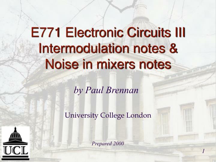 e771 electronic circuits iii intermodulation notes noise in mixers notes n.